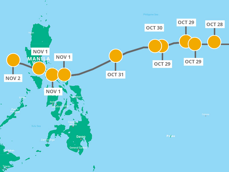 Map highlighting the path of Typhoon Goni across the Philippines.
